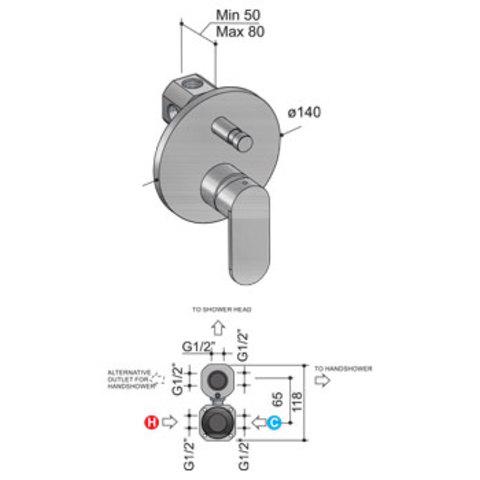 Hotbath Friendo F032 inbouw mengkraan met omstelknop geborsteld nikkel