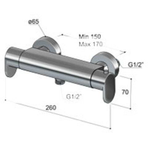 Hotbath Friendo F008 opbouw thermostaat met 1/2'' doucheslang onderaansluiting geborsteld nikkel