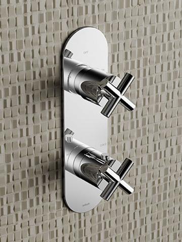 Hotbath Chap C051 inbouw thermostaat met 2-weg omstel (verticale plaatsing) geborsteld nikkel