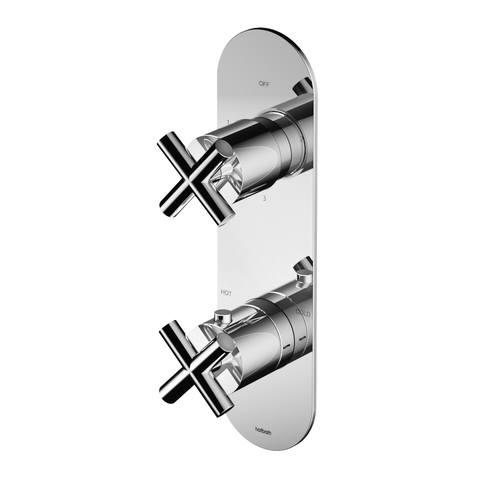 Hotbath Chap C052 inbouw thermostaat met 3-weg omstel (verticale plaatsing) geborsteld nikkel