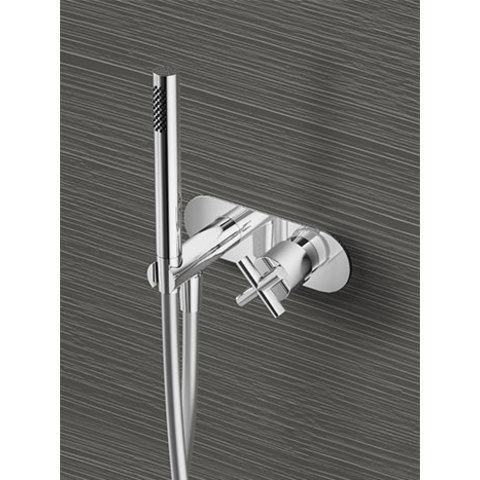 Hotbath Chap C070 inbouw stopkraan met doucheslang en handdouche geborsteld nikkel