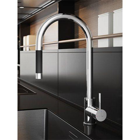 Hotbath Fellow FKM12 keukenkraan met uittrekbare handdouche chroom