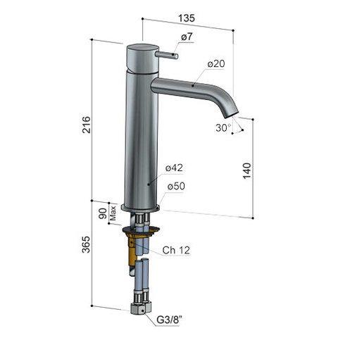 Hotbath Cobber CB003MC wastafelkraan medium geborsteld nikkel