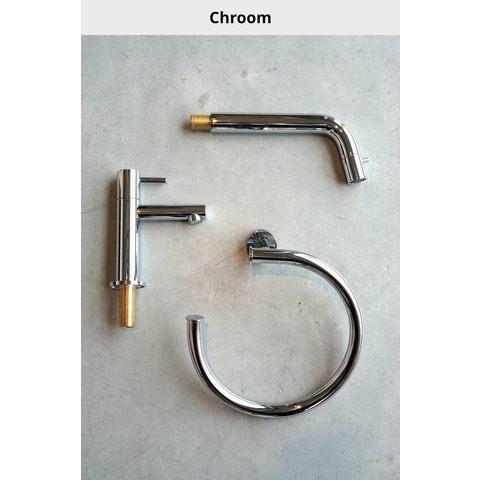 Hotbath Cobber CB006 afbouwdeel wastafelkraan met achterplaat 18 cm uitloop chroom