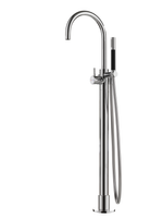 Hotbath Cobber CB077 badmengkraan vloermontage met draaibare uitloop geborsteld nikkel