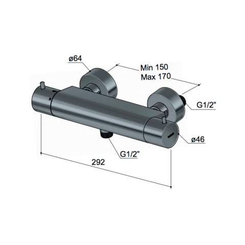 Hotbath Cobber B008 douchethermostaat geborsteld nikkel
