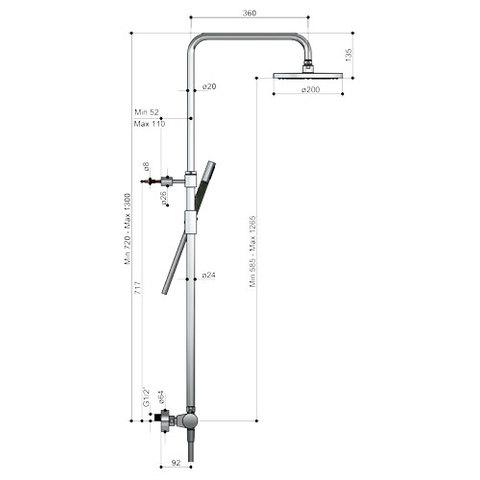 Hotbath Cobber SDS9CR thermostatische stortdoucheset - staafhanddouche - 20cm hoofddouche - chroom