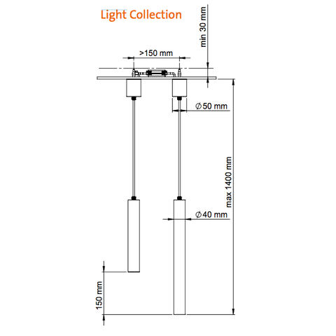 Looox Light Collection badkamer hanglamp LED 25cm mat zwart