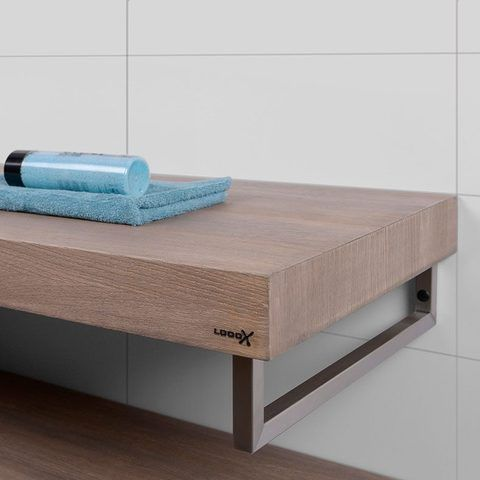 Looox Wood Collection wastafelblad eiken 120 cm solo base shelf - mat zwarte beugels