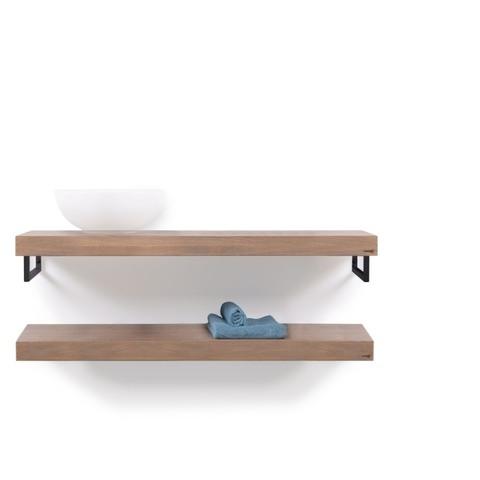Looox Wood Collection wastafelblad eiken 120 cm duo base shelf - mat zwarte beugels