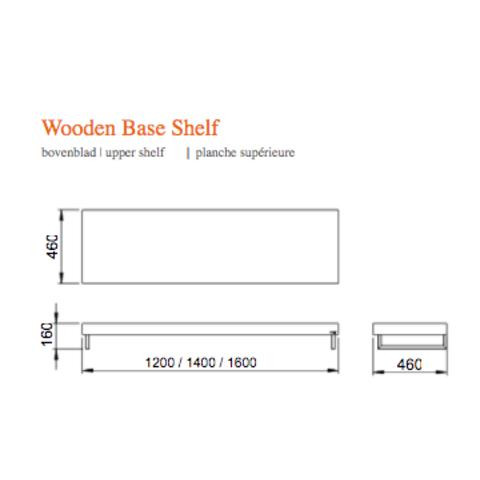 Looox Wooden Collection wastafelblad eiken 140 cm solo base shelf - mat zwarte beugels