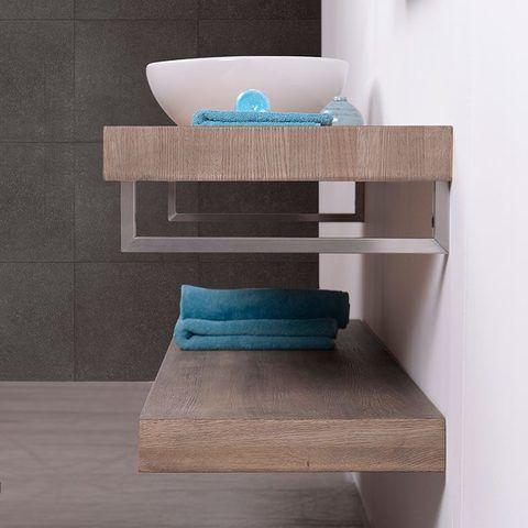 Looox Wood Collection wastafelblad eiken 120 cm duo base shelf - RVS beugels
