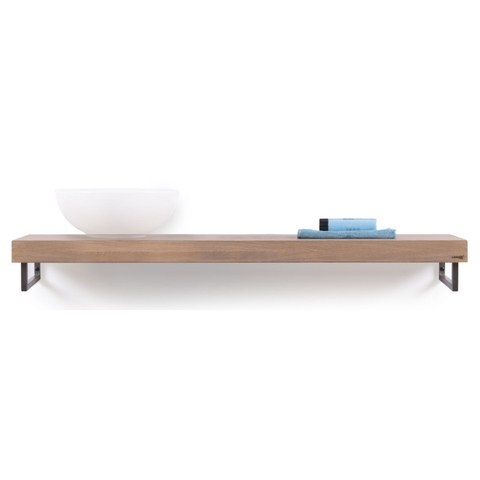 Looox Wood Collection wastafelblad eiken 140 cm solo base shelf - RVS beugels