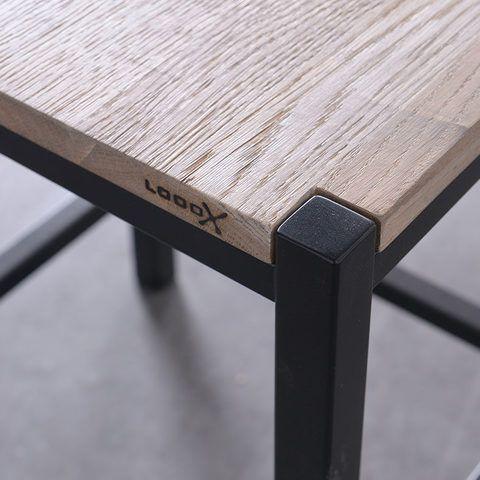 Looox Wood Collection Stool krukje eiken met mat-zwart frame