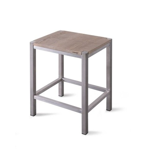 Looox Wood Collection Stool krukje eiken met geborsteld RVS frame