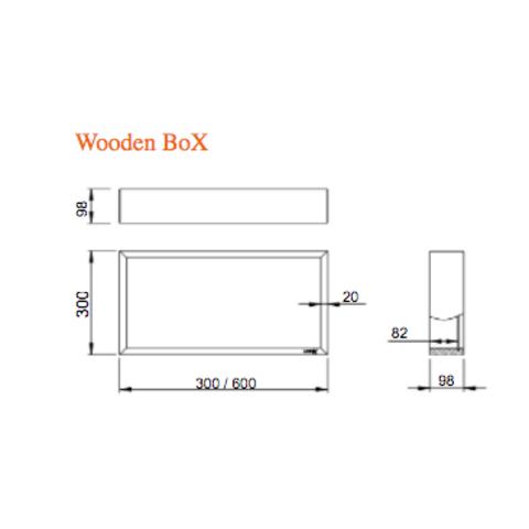 Looox Wooden BoX eiken 30x30 cm met mat zwarte achterplaat