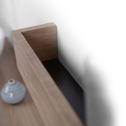 Looox Wooden Shelf BoX 30cm - met RVS bodemplaat