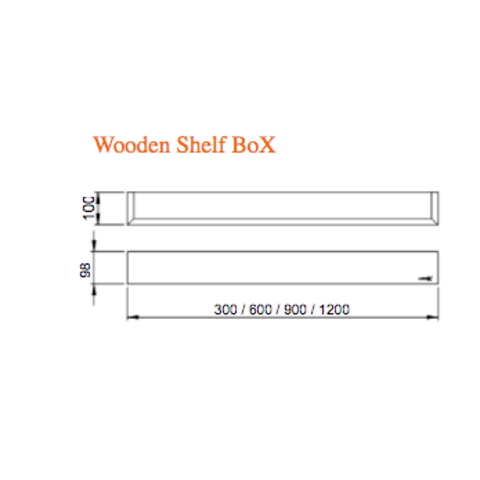 Looox Wooden Shelf BoX 90cm - met mat zwarte bodemplaat