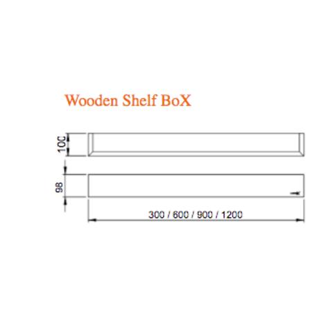 Looox Wooden Shelf BoX 120cm - met mat zwarte bodemplaat