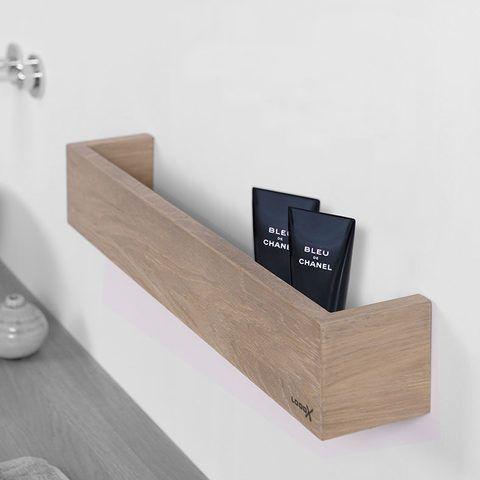 Looox Wooden Shelf BoX 60cm - met RVS bodemplaat