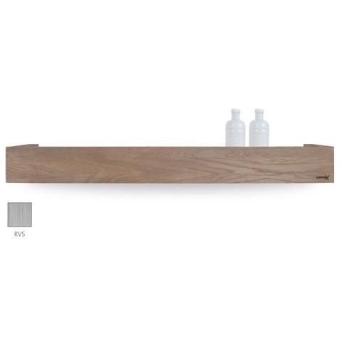 Looox Wooden Shelf BoX 90cm - met RVS bodemplaat