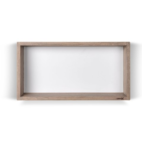 Looox Wooden BoX eiken 60x30 cm met mat witte achterplaat
