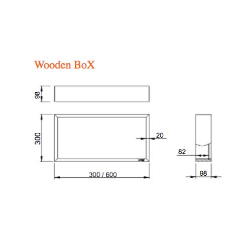 Looox Wooden BoX eiken 60x30 cm met RVS achterplaat