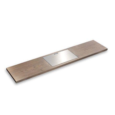 Looox Wooden Bath Shelf badplank massief eiken 78 cm met geborsteld RVS tablethouder