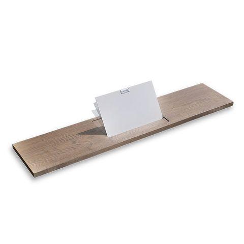 Looox Wooden Bath Shelf badplank massief eiken 78 cm met mat witte tablethouder