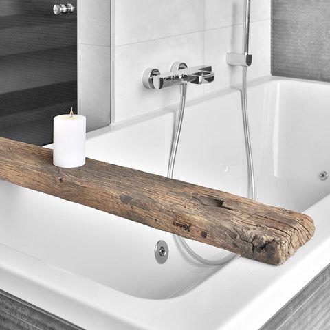 Looox Wooden Bath Shelf RAW 78cm massief eiken