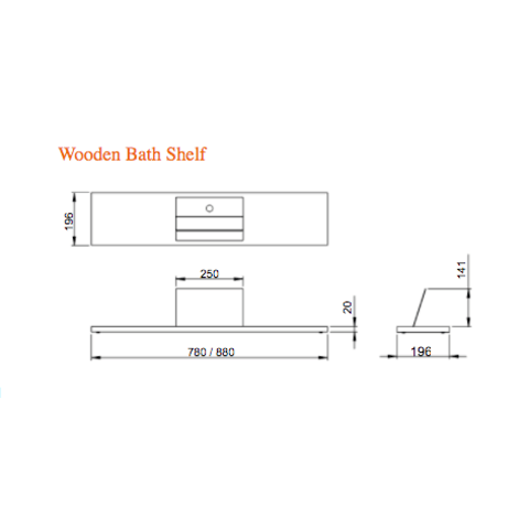 Looox Wooden Bath Shelf badplank massief eiken 88 cm met mat zwarte tablethouder