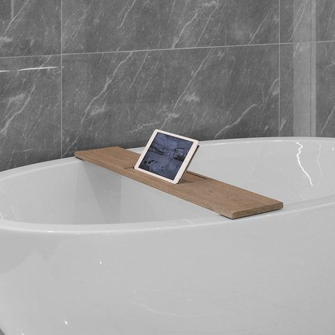 Looox Wooden Bath Shelf badplank massief eiken 78 cm met antraciet tablethouder