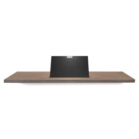 Looox Wooden Bath Shelf badplank massief eiken 78 cm met mat zwarte tablethouder