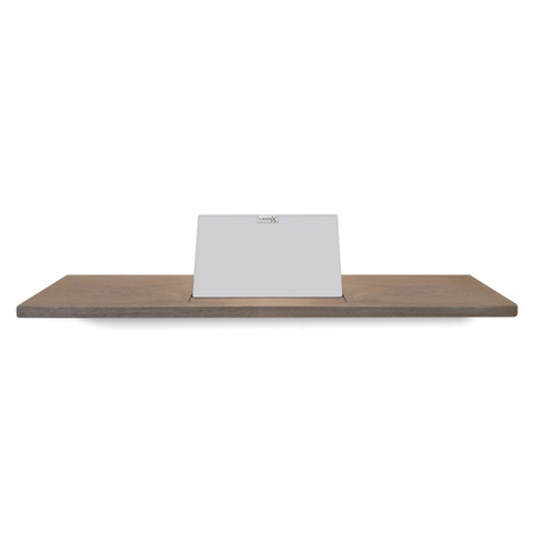 Looox Wooden Bath Shelf badplank massief eiken 88 cm met mat witte tablethouder