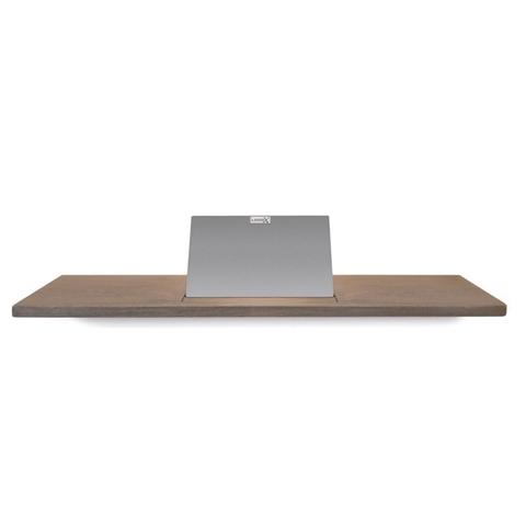 Looox Wooden Bath Shelf badplank massief eiken 88 cm met geborsteld RVS tablethouder