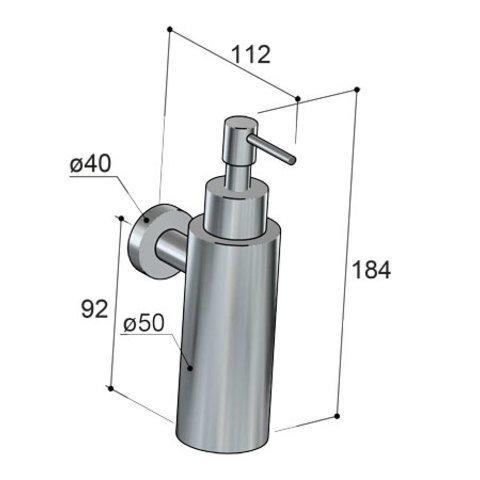 Hotbath Cobber CBA09 zeepdispenser wandmodel geborsteld nikkel