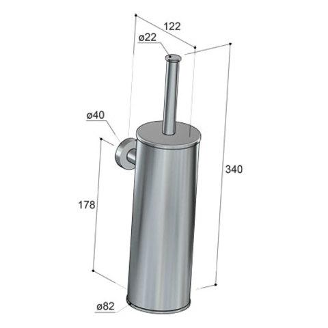 Hotbath Cobber CBA11 WC-borstelgarnituur wandmodel geborsteld nikkel