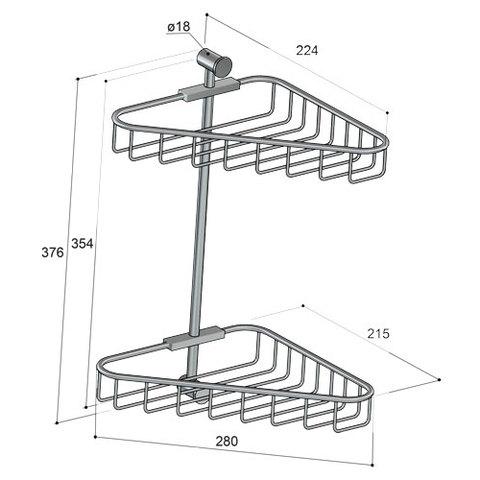 Hotbath Cobber CBA14 hoekdraadkorf dubbel geborsteld messing PVD