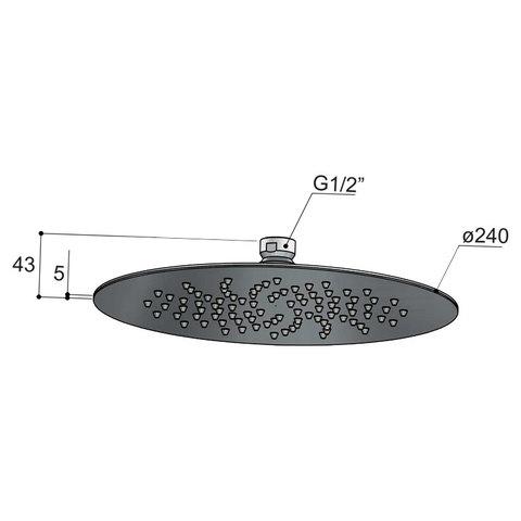 Hotbath Mate M198 hoofddouche 24 cm geborsteld nikkel