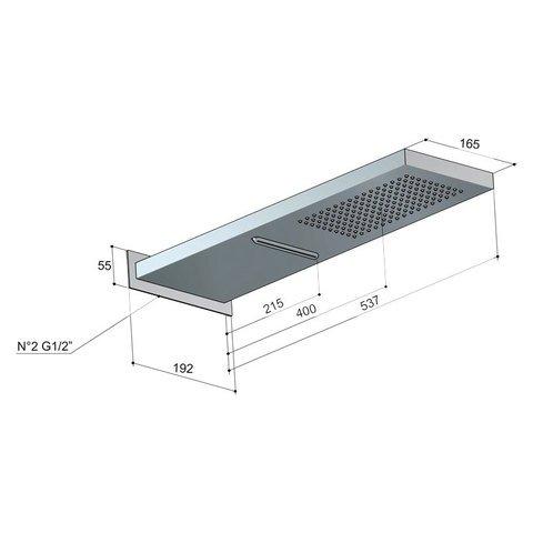 Hotbath Mate M193 hoofddouche cascade 16,5x53,7 cm chroom