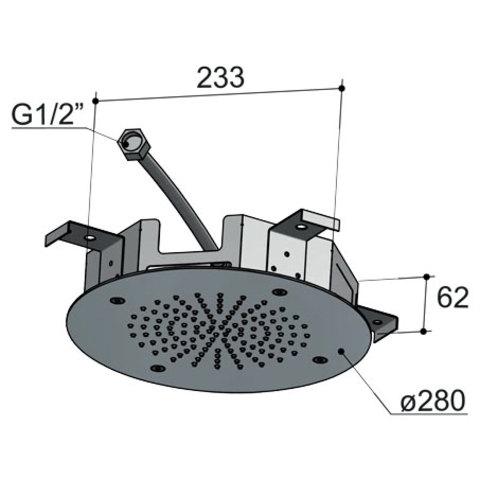 Hotbath Mate M206 hoofddouche 28 cm geborsteld nikkel