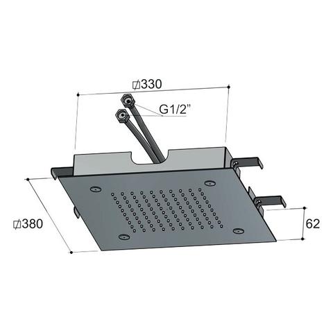 Hotbath Mate M194 hoofddouche 38 cm geborsteld nikkel