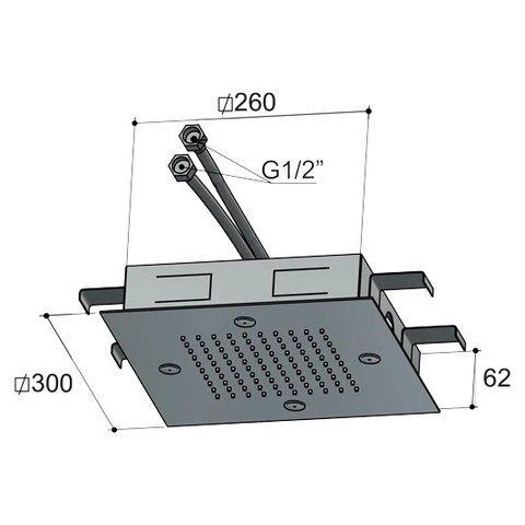 Hotbath Mate M195 hoofddouche 30 cm geborsteld nikkel