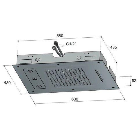 Hotbath Mate M191 hoofddouche 48 x 63 cm geborsteld nikkel
