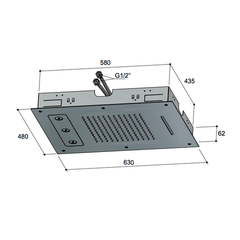Hotbath Mate M190 hoofddouche 48 x 63 cm chroom