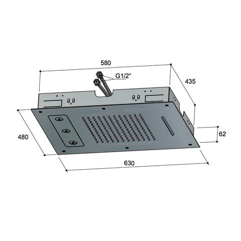 Hotbath Mate M190 hoofddouche 48 x 63 cm geborsteld nikkel