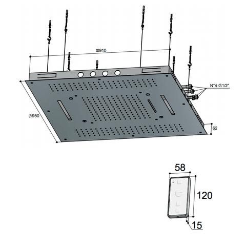 Hotbath Mate M173 hoofddouche 95 x 95 cm geborsteld nikkel