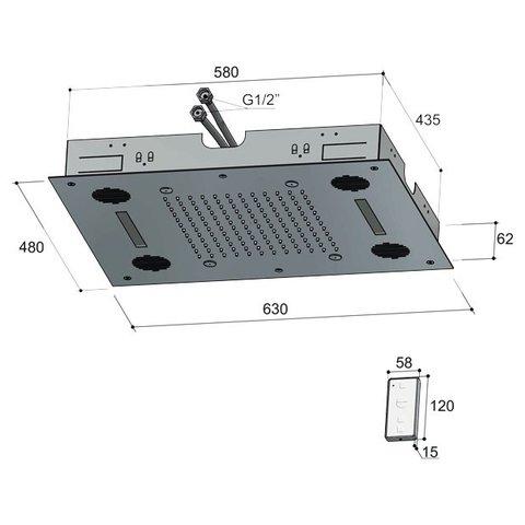 Hotbath Mate M192 hoofddouche 48 x 63 cm geborsteld nikkel