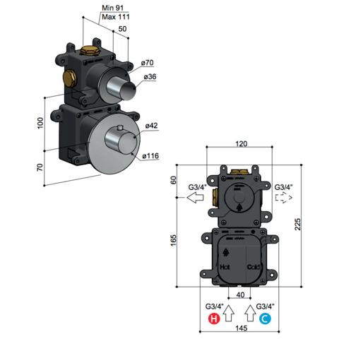 Hotbath Mate MHR1 High Flow thermostaat met 1 stopkraan geborsteld nikkel