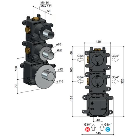 Hotbath Mate MHR2 High Flow thermostaat met 2 stopkranen geborsteld nikkel